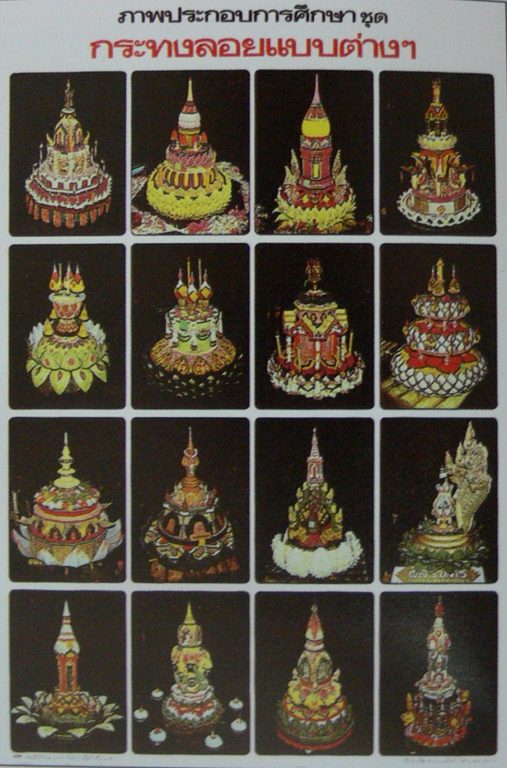 Thai Traditional Floating Basket Poster Education Collection Loy Kratong Gift