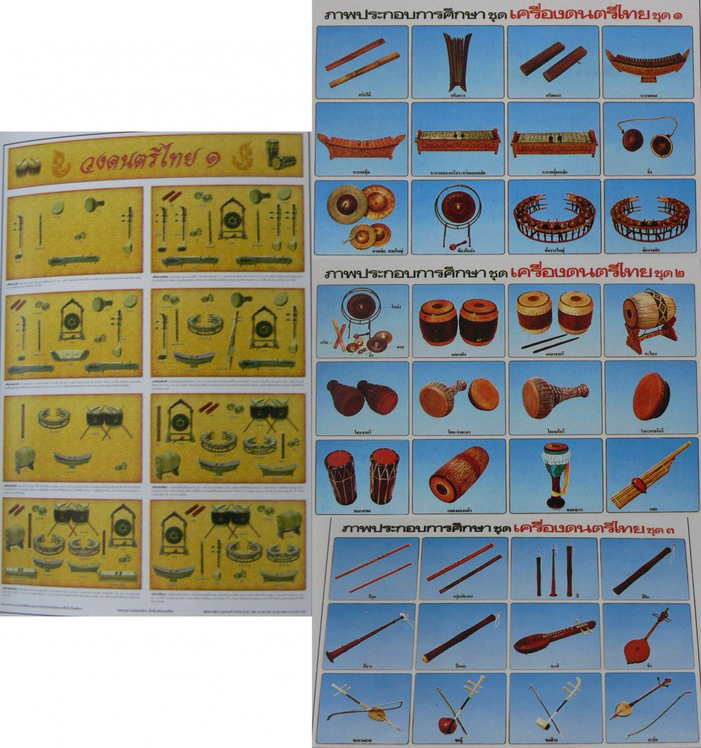 Thai Thailand Music Musical Instrument Xylophone Clappers Violin Guitar Flute Drum Cymbals 4 Poster