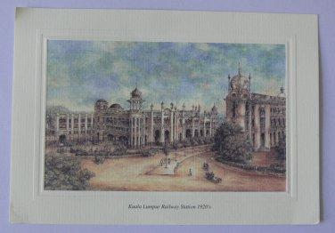 JW Marriott Kuala Lumpur Malaysia Postcard Art Painting 1920 Water Color Railway
