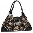 Brown Leopard Print Buckle Handbag