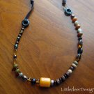 Mahogany and Amber Czech bead necklace with wood and leather