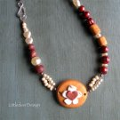Poly clay gold, bronze, and Czech pearls necklace