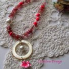 Poly clay heishi series:  Vintage pearls and pink poly clay necklace