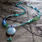 Turquoise Jasper and Czech glass bead necklace