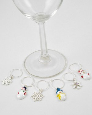 Set of 6 Christmas Winter Wine Glass Stem Charms
