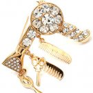 Gold Chunky Scissors Hair Stylist Bling Pave Crystal Brooch