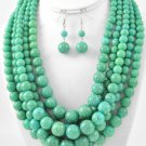 Turquoise Bead Statement Necklace Set