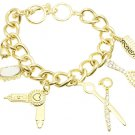 HAIR STYLIST GOLD BLING CHUNKY CHAIN CHARM BRACELET