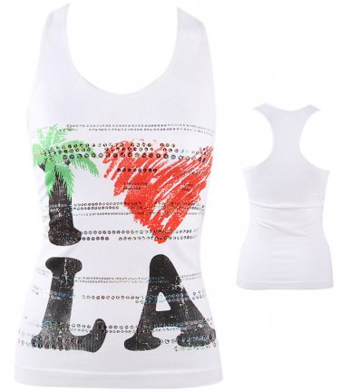 Love LA Bling Heart Los Angeles Racer Back Sleeveless Tank Top Shirt