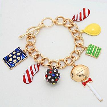 Urban Glam Candy Crush Curb Chain Charms Link Bracelet