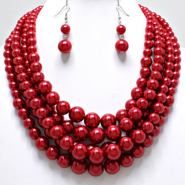 Red Chunky Layered Pearl Statement Jewelry Necklace
