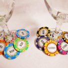 Monte Carlo clay rainbow colored POKER CHIP wine charms -- One set of 10