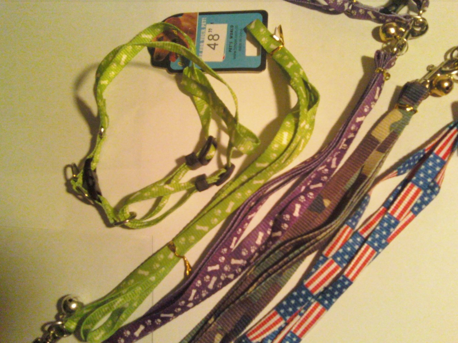 Small Dog Harness With Matching Leash (Green dog print style)