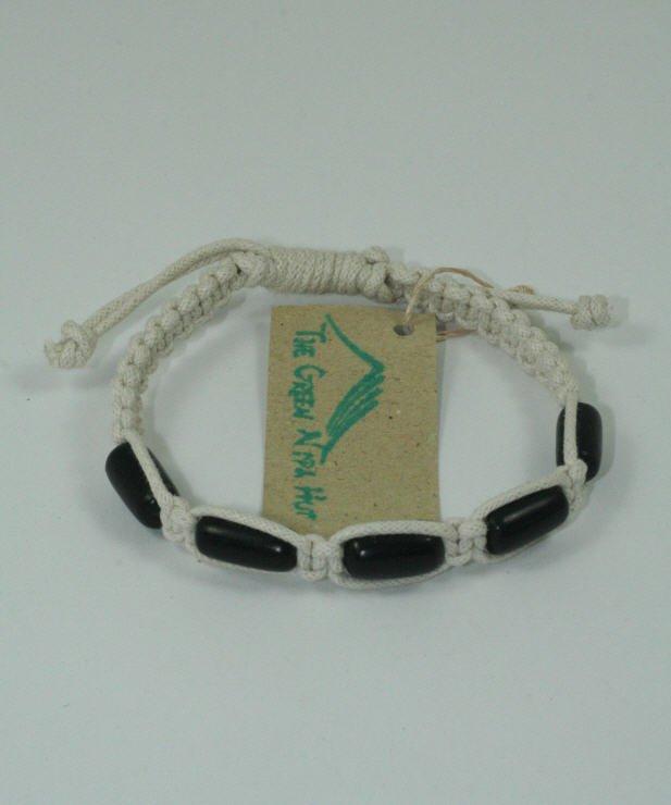 White Macrame Bracelet with Black Beads