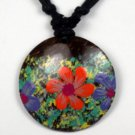 Hawaiian Flower Painted Pendant