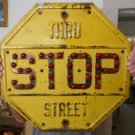 Vintage Sign 1920's Stop Sign Yellow & Black with Red Oval Reflector's 18x18""