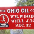 Vintage Sign The Ohio Oil Co. Metal Sign with the Marathon Runner Logo