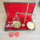 Vintage Jewelry Scale Brass Balance Set with Velvet Case