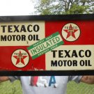Vintage Sign Texaco Motor Oil Double Sided Metal 1940's Framed 211/2x11""