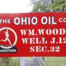 Vintage Sign The Ohio Oil Co. Metal Sign Marathon Runner Logo Non Porcelain