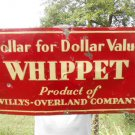 Vintage Metal Sign Whippet Willys Overland Embossed ca.1920/30's Non Porcelain