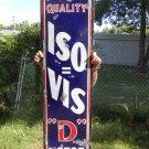 """Vintage Sign Iso=Vis """"D"""" Motor Oil Porcelain ca.1930 Gas Pat No. 1951325"""