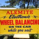"Vintage Sign Alemite Wheel Balancing On the Car Gas Oil 56x32""  Non Porcelain"
