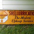 "Vintage Sign Shell Shellubrication Porcelain ""The Modern Upkeep Service""Gas Oil"
