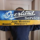 "Vintage Signs Overland Service Metal Sign 28x10"" Nice Hard to Find Sign"