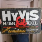 Vintage Sign Hyvis Motor Oil Metal Embossed 1930's Gasoline Tin Not Porcelain