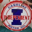 """Vintage Sign Independent Gasoline & Motor Oil Double Sided Porcelain 30"""" Gas"""
