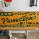Vintage Sign Klasing Powerlene Motor & Diesel Oils Metal not Porcelain 1940's