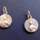 Tiny Twin Antique Sterling Silver Medals of Saint John Bosco