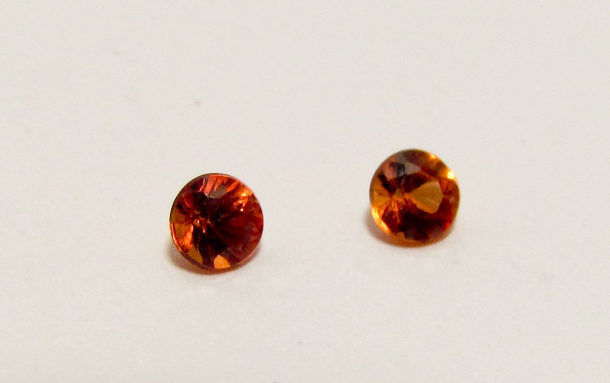 Songea Orange Sapphires 3mm Round Matching Pair Gemstones