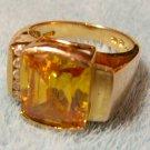 Large Vermeil Citrine & Cubic Zirconium Ring Sz7 Gemstone Gold Sterling 925