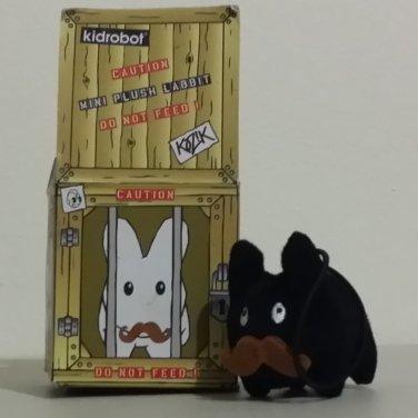 Black with Mustache Kidrobot Kozik Mini Plush Labbit with Hang Cord