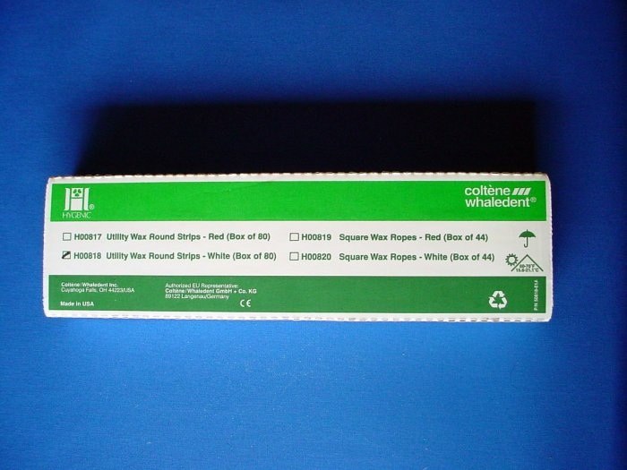 "2312 Utility Wax Strips White 11""x3/16"" Hygenic 80/box"