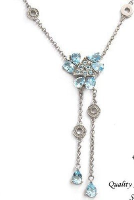 STUNNING Necklace With 8.08ctw Genuine Topazes Made of Solid 925 Sterling silver