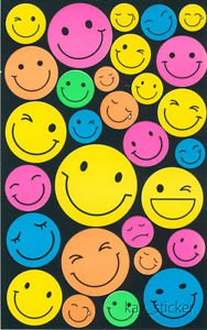 Plain Neon Smile Face Sticker  30