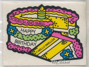 Mello Smello Scratch and Sniff sticker HAPPY BIRTHDAY Birthday Cake
