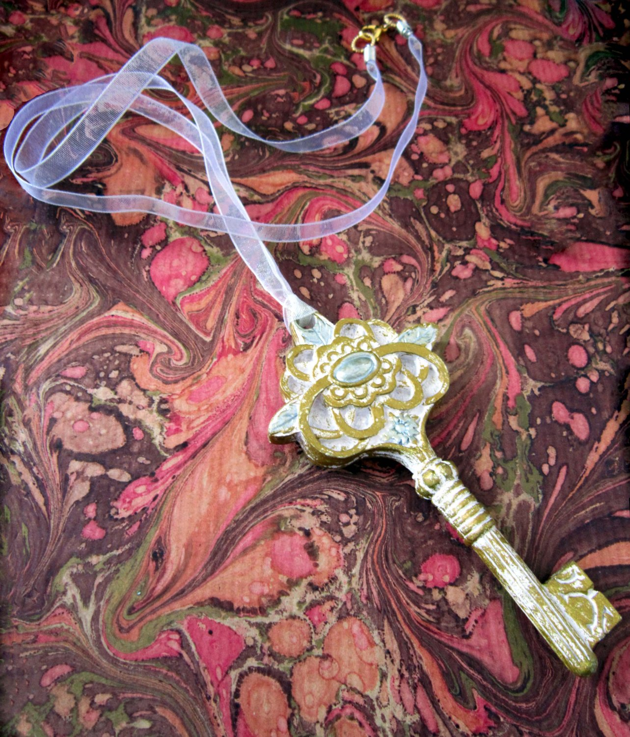 On Key: Vintage-inspired Silver and Gold Filigree Key Pendant White Ribbon Necklace