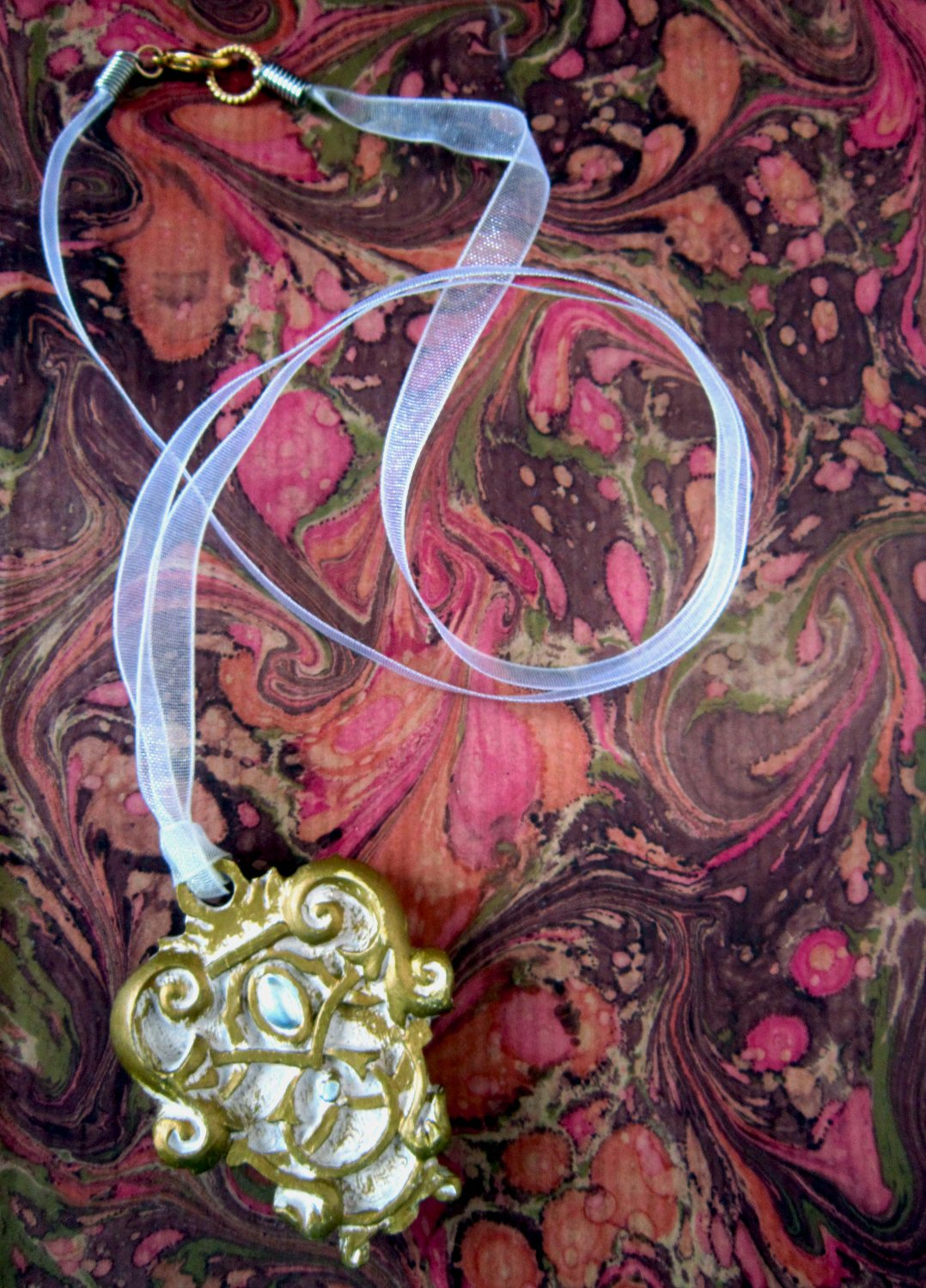 On Key: Vintage-inspired Silver and Gold Filigree Medallion White Ribbon Necklace