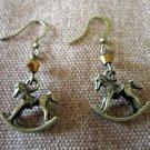 Metallic Bronze Vintage-inspired Rocking Horse Swarovski Crystal Earrings