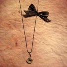 Vintage-inspired Rocking Horse Swarovski Crystal Ribbon Necklace in Metallic Bronze/Chocolate Brown