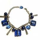Blue Lightning: Faux Pearl Glass Bead Bracelet