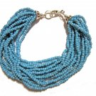 Tibetan Blue Multistrand Seed Bead Bracelet