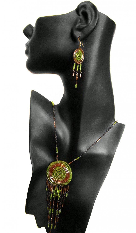 Dream Catcher Necklace Earrings Set