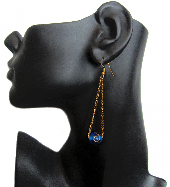 Cobalt Blue Swirl Lampwork Glass Earrings