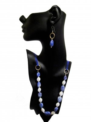 Cloud 9: Marbled Necklace Earrings Set