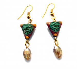 Chinese Shou Earrings in Sunrise Gold